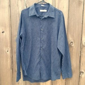 Calvin Klein Men's Blue Striped Button-Down Shirt